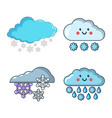 snow cloud icon set cartoon style vector image