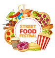 street food and fastfood festival poster vector image vector image