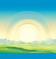 summer rural landscape dawn above hills vector image vector image