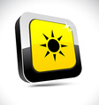 Sun 3d square button vector image vector image