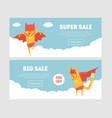 super sale banners set with superhero dog final vector image