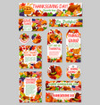 thanksgiving day autumn harvest holiday tag set vector image vector image