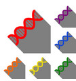 the dna sign set of red orange yellow green vector image vector image