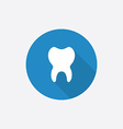 tooth Flat Blue Simple Icon with long shadow vector image