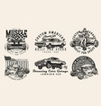 vintage custom cars designs set vector image vector image