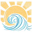 Vintage sea waves and sun of sea landscape vector image