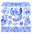 ornament gzhel style painted blue art bird and vector image