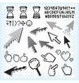 Set of Pixel Elements and Symbols Image vector image