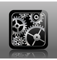 Button black with gears vector image