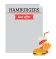 Hamburger best offer template vector image