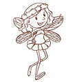 A simple sketch of a cute fairy vector image vector image