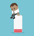 african businessman sitting on battery is vector image