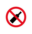 alcohol not permitted allowed sign bottle glass vector image vector image