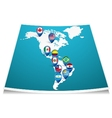 American map with flag pin vector image