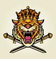 angry king tiger sword logo vector image vector image