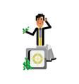 asian businessman sitting on bank safe vector image