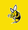 bee e sports logo design on yellow background vector image vector image