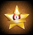 bingo ball crown over gold star with banner vector image vector image