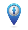 Blue map pointer with woman icon vector image