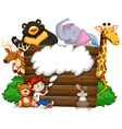 Boy and wild animals vector image