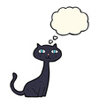 cartoon black cat with thought bubble vector image vector image