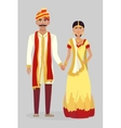 Cartoon Indian wedding couple vector image vector image