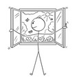 cartoon of man opening window to garden or nature vector image vector image