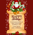 christmas gift and santa card on old paper scroll vector image