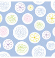 colorful flowers in bubbles pattern vector image vector image