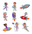 cute happy kid astronauts in outer space suits set vector image