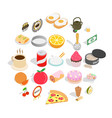 delicious dishe icons set cartoon style vector image vector image