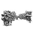 drawing india cityscape show local market vector image vector image