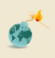 earth like bomb with mathch in fire vector image vector image