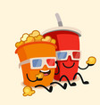 funny cinema popcorn bucket and soda vector image vector image
