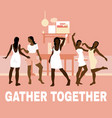 gather together hand drawn of vector image