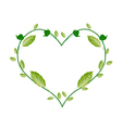 Green Leaves and Flower Buds in Heart Shape vector image vector image