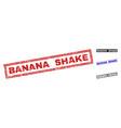 grunge banana shake textured rectangle stamp seals vector image vector image