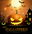 halloween pumpkin fullmoon horror background vector image vector image