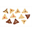 hamantaschen - jewish traditional cookies for vector image