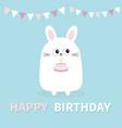 happy birthday white bunny rabbit holding cake vector image