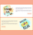 have fun and relax label tropical leaves framing vector image