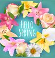 hello spring banner greetings design backgroun vector image vector image
