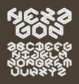 Hexagon alphabet made of impossible shapes vector image