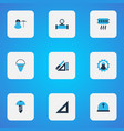 industrial icons colored set with straightedge vector image