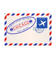 international air mail envelope from chicago with vector image vector image