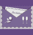 invitation card decorated with lace on background vector image vector image