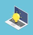 isometric laptop with yellow lightbulb idea vector image