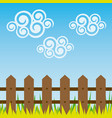 landscape with wood grate and grass design vector image vector image