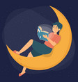 man reading a book sitting on crescent vector image vector image