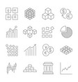market trading icons set line icons vector image